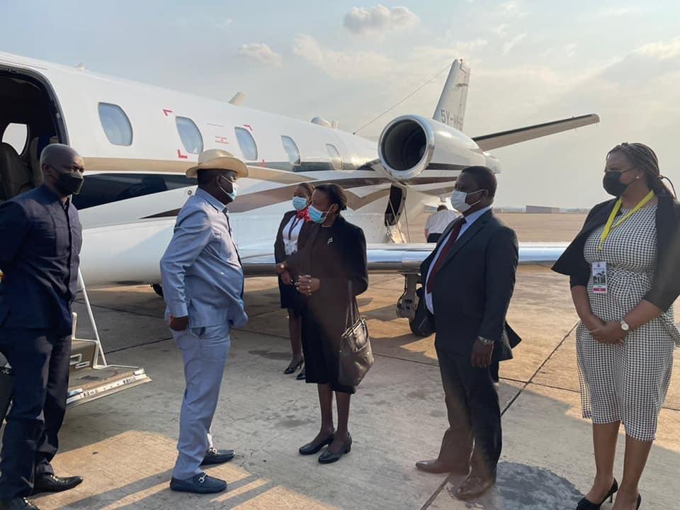 Raila Odinga Arrives in Zambia for Inauguration of President-Elect Hakainde Hichilema