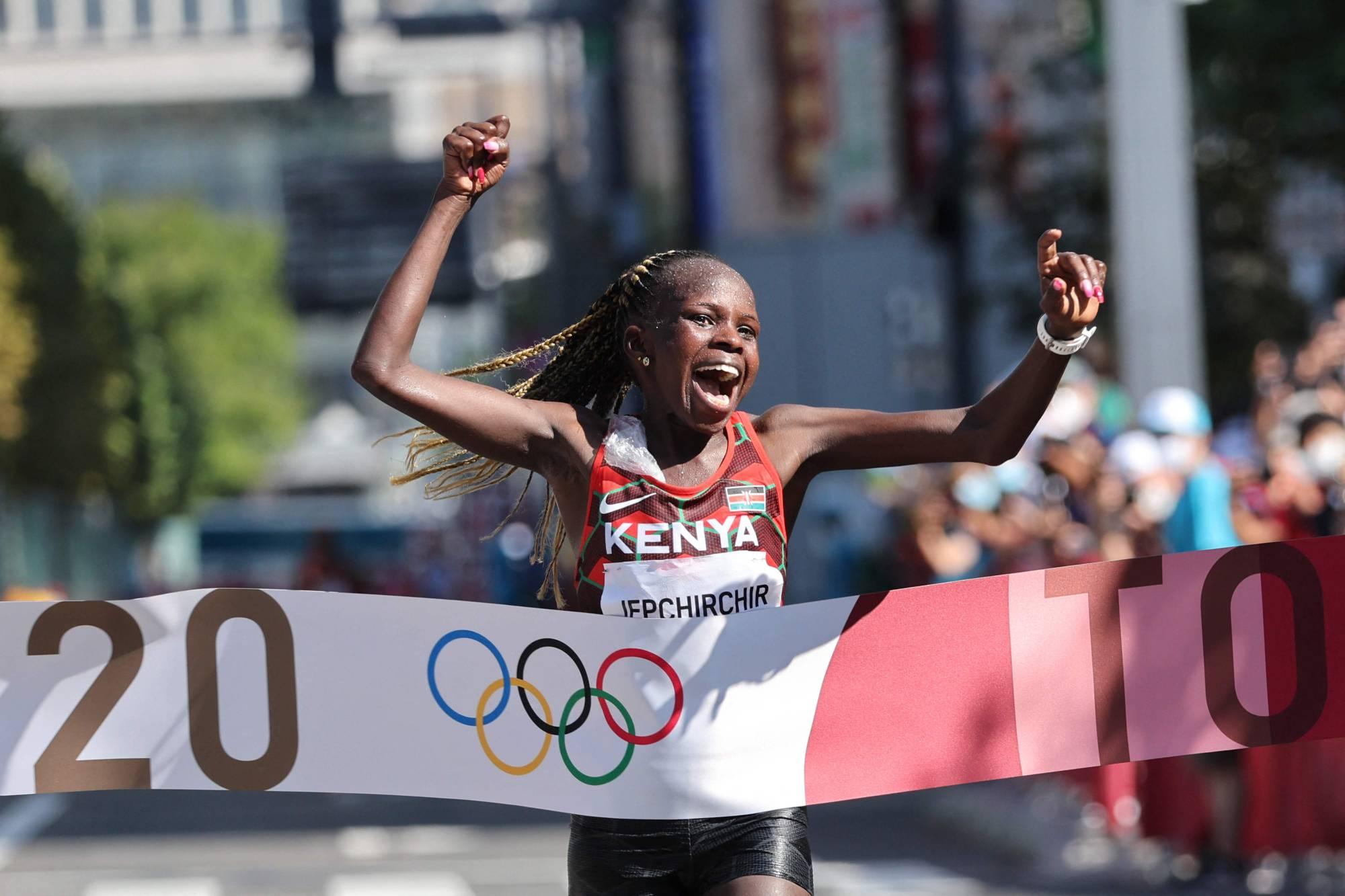 Tokyo 2020: Kenya's Peres Jepchirchir beats World Record Holder to Claim Marathon Gold